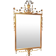 Early 20th Century Adam Style Gilt Decorated Mirror W/ Flower Urn Decoration