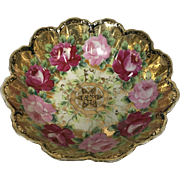 Large Footed Nippon Porcelain Bowl with Baltimore Rose Gold Decoration