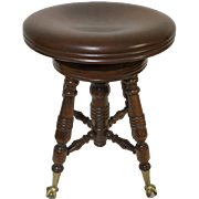 Antique Dark Stain Maple Swivel Top Piano Stool With Glass Ball and Claw Feet