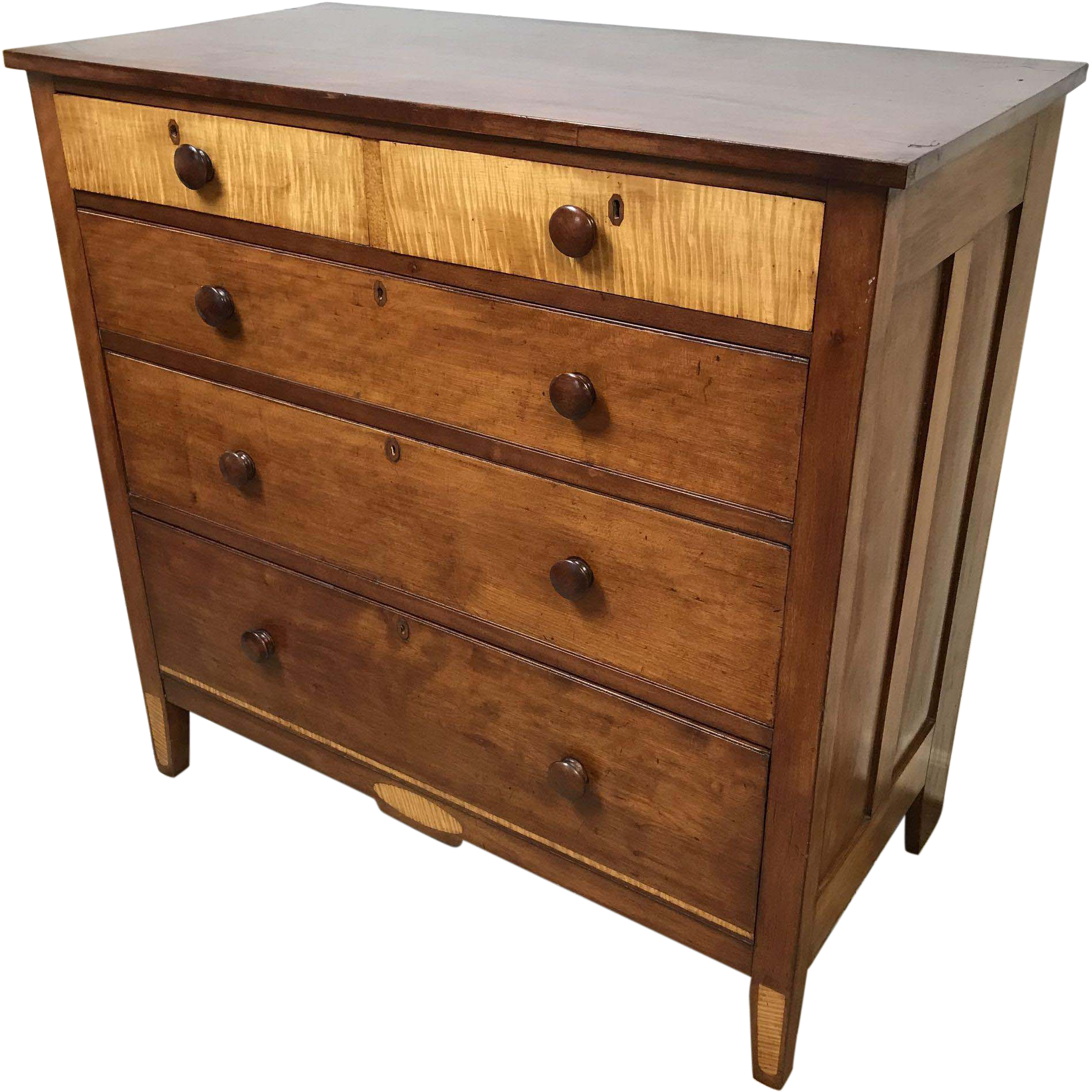 Circa 1800 New England Cherry & Tiger Maple 2 over 3 Chest of Drawers