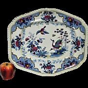 """Large 17"""" Circa 1820's English John & William Ridgway Chinoiserie Stone China Platter"""