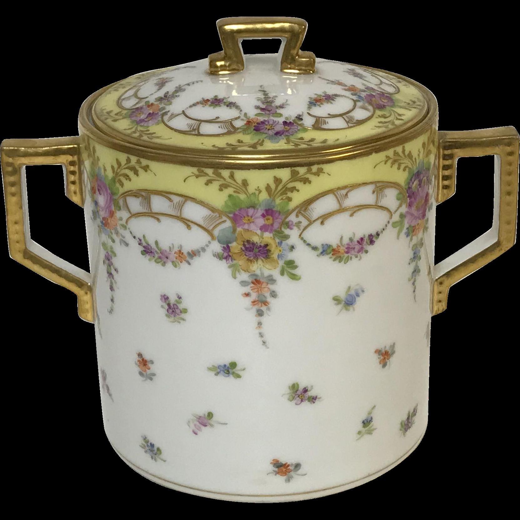 Richard Klemm Dresden Covered Cookie Jar With Gold & Flower Decoration