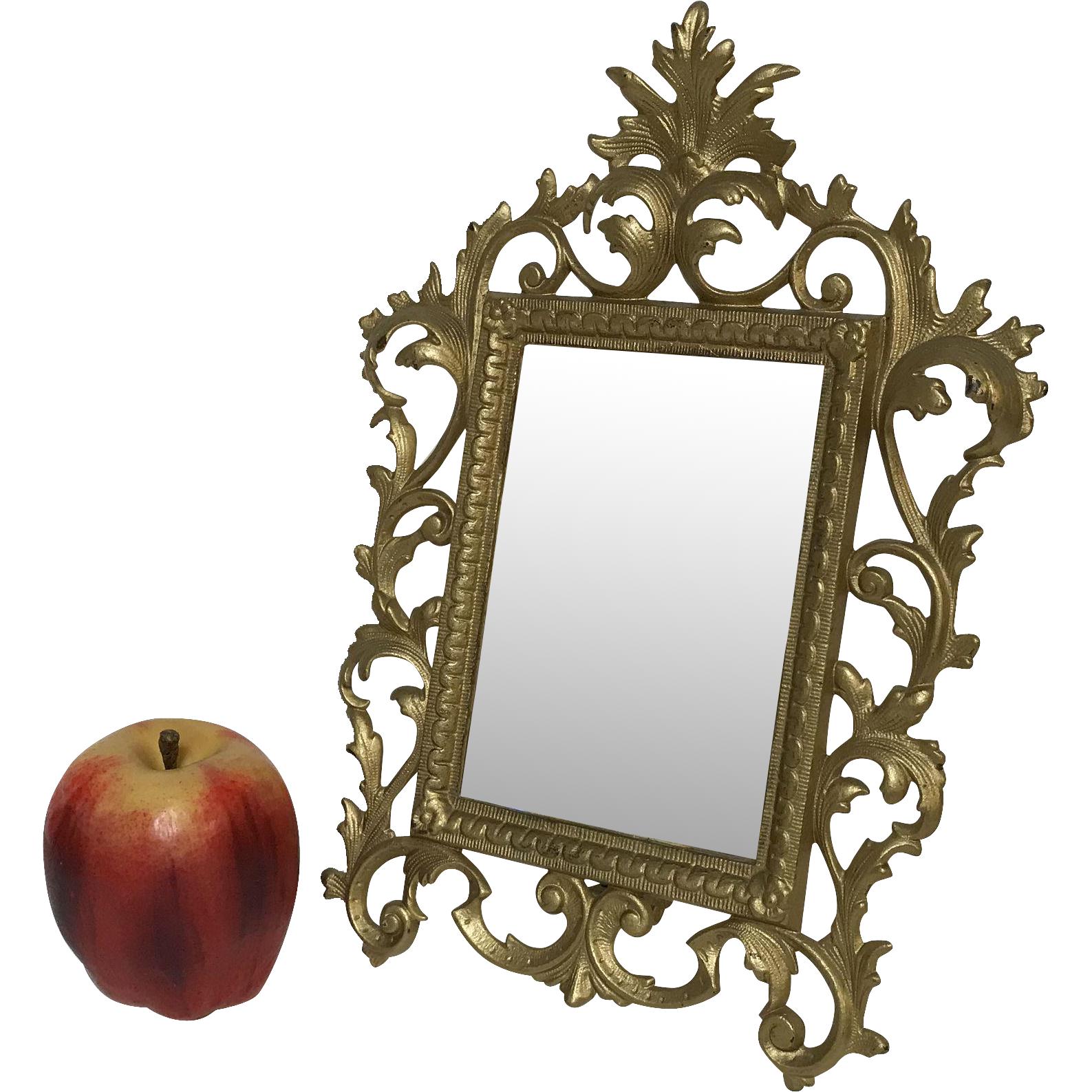 Antique Brass Frame Rococo Style Table Mirror