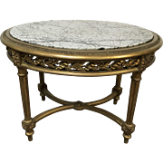 French 19th Century Louis XVI Oval Gold Gilt Gessoed Carved Table W/ Marble Top