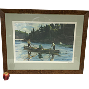 Ltd Ed Signed Ogden Pleissner Print the Run Downstream Ny Anglers Club 1981