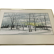 Large Water Color By Susan Seseske Wolanic Winter Landscape