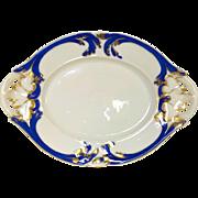Beautiful Antique Old Paris Porcelain Raised Blue & Gold Decorated Platter