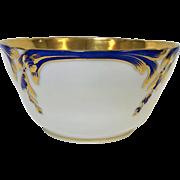 Beautiful Antique Old Paris Porcelain Raised Blue & Gold Decorated Bowl