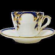 Cobalt Blue & Gold Decorated Old Paris Porcelain Teacup Saucer