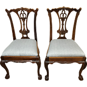Pair of Mahogany Chippendale Acanthus Ball And Claw Chairs