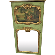 19th Century 2 Part French Country Mirror In Original Green Paint