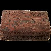 Republican Period Chinese Carved Cinnabar Box