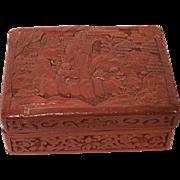 Vintage Chinese Carved Cinnabar Box