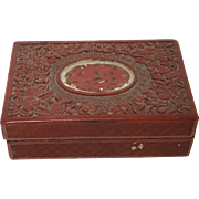 Vintage Chinese Cinnabar Carved Wooden Ware Box
