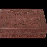 Republican Period Chinese Cinnabar Carved Box