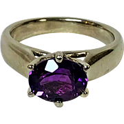 14k White Gold Amethyst Ring with Intense Purple Fire Color  Size 8.5