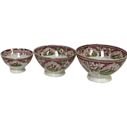 Set of 3 Graduated French Cafe Au Lait Bowl Pink Polychrome Transferware Game Bird Quail