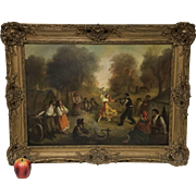 Spanish Painting Oil on Canvas of Dancing Gypsy in Original Ornate Gold Frame