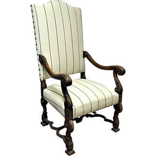 Spanish Revival Throne Baroque High Back Chair