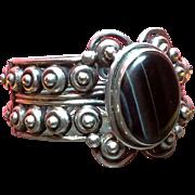 Vintage Silver Los Ballesteros Taxco Mexico Tigers Eye Scroll Bracelet