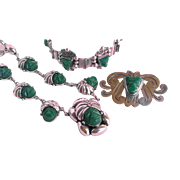 Early Mexico Silver Green Onyx Mayan Mask Demi Parure