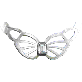 Vintage Los Ballesteros Silver Butterfly Collar Statement Necklace Sterling Taxco Mexico Signed