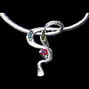 Modernist Israel Serpent Garnet Emerald NAOR Statement Necklace Vintage Sputnik Sterling Silver Signed 3.25ct Gemstone Odyssey Collar