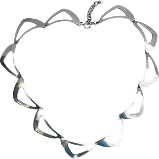 NE From Denmark Modernist Necklace Niels Erik Scandinavian Mid 20th Century Boomerang Chain Triangular Geometric Sputnik Odyssey Signed Link