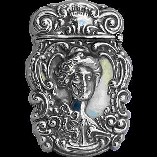 Vintage Repousse Woman Matchsafe Vesta Silverine