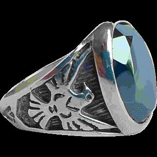 Vintage Silver Hematite Eagle Mens Ring Sterling Signet Unisex Ring