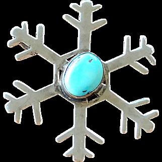 Vintage Southwestern Sterling Silver Turquoise Snowflake Pendant