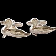 Vintage Hickok Duck Figural Sterling Silver Mens Cufflinks