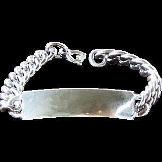 Vintage Forstner Sterling Silver Curb Link ID Bracelet