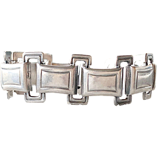 Vintage 1953 Swedish Modernist Mens Link Sterling Silver Bracelet