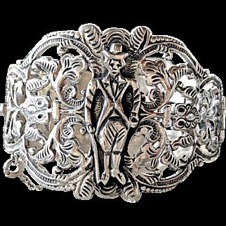 Vintage Peruvian Filigree Tapadas Wedding Silver Bracelet