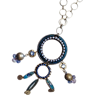 Vintage Colorful-Necklace-Swarovski-crystals-and-beads-Handmade-by-ADAYA Israel