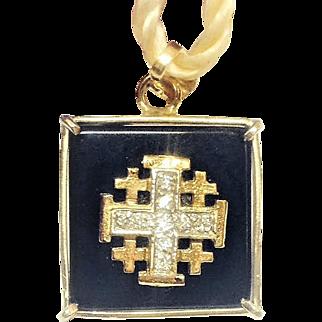 Vintage 14K Gold Jerusalem cross pendant with Onix and Diamonds. Israeli Jewelry.