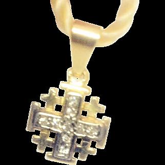 Vintage 14K Gold Jerusalem cross pendant with  Diamonds. Israeli Jewelry.