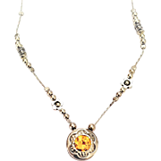 Sterling silver necklace set with Citrine  stone
