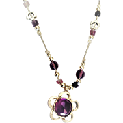 Sterling silver necklace set with Amethyst  stone.