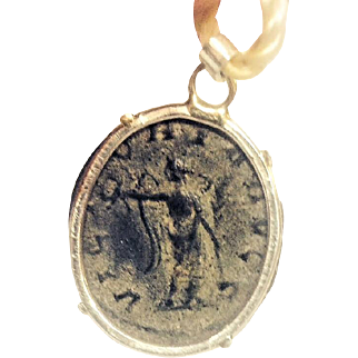 Sterling Silver Ancient Coin Jewelry Pendant Roman  Authentic