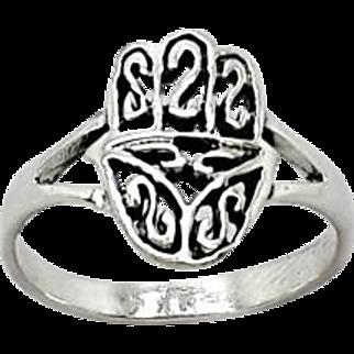 Sterling silver Hamsa Ring Filigree work