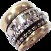 Hebrew Wedding Ring , Silver & Gold Spinner Beloved   Ring Size 7.5