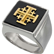 Silver and Gold Jerusalem Cross Ring.