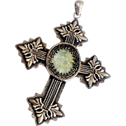 Sterling Silver Cross with Ancient Roman Glass