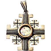 Sterling Silver Jerusalem Cross Pendant set with Ancient Roman Glass