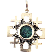 Sterling Silver Jerusalem Cross Pendant set with Eilat-King Solomon's stone