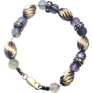 """"""" ..He would give you living water"""" Silver and Gem stones Vintage bracelet by Leehee"""