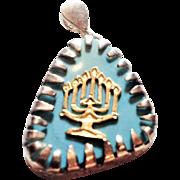 Menorah pendant, 14K gold, silver and turquoiseץ