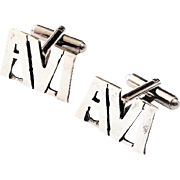 Personalized Silver cufflings made to order with name.